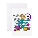 Mermaid 5th Birthday Greeting Card