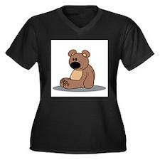 Cuddly bear Women's Plus Size V-Neck Dark T-Shirt