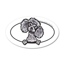 Gray Poodle Head n Paws 22x14 Oval Wall Peel