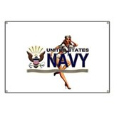 USN Navy Pin Up Babe Banner