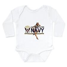 USN Navy Pin Up Babe Long Sleeve Infant Bodysuit