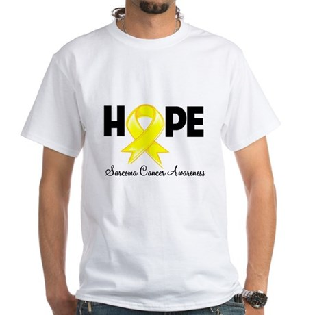 Hope Sarcoma Ribbon White T-Shirt