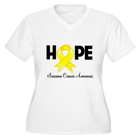 Hope Sarcoma Ribbon Women's Plus Size V-Neck T-Shi