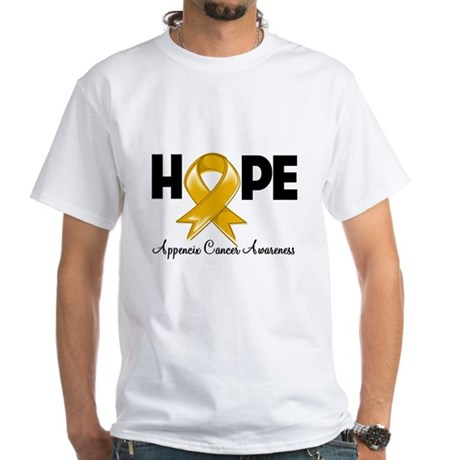 Hope Appendix Cancer White T-Shirt