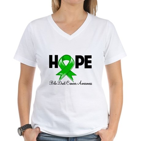 Hope Bile Duct Cancer Women's V-Neck T-Shirt