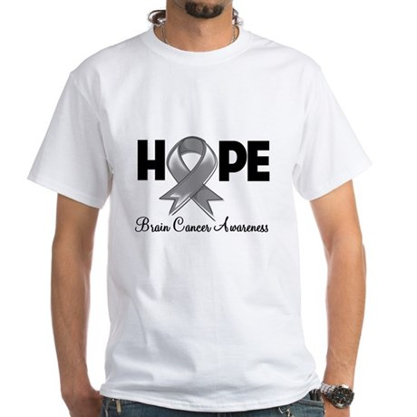 Hope Brain Cancer White T-Shirt