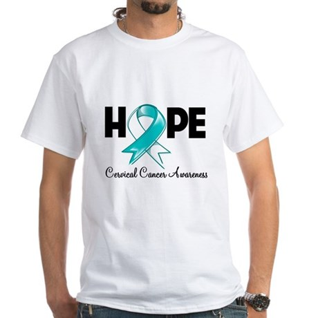 Hope Cervical Cancer White T-Shirt