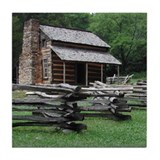 Cades Cove Log Cabin Tile Coaster