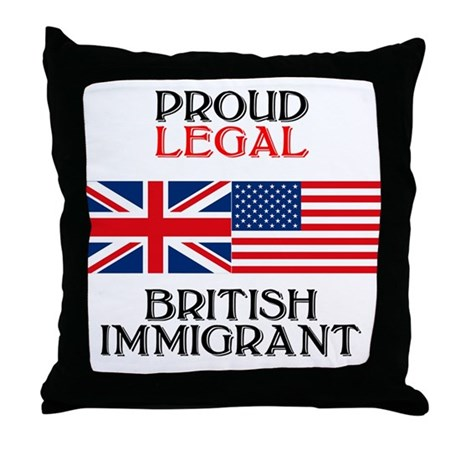 British Immigrant Throw Pillow