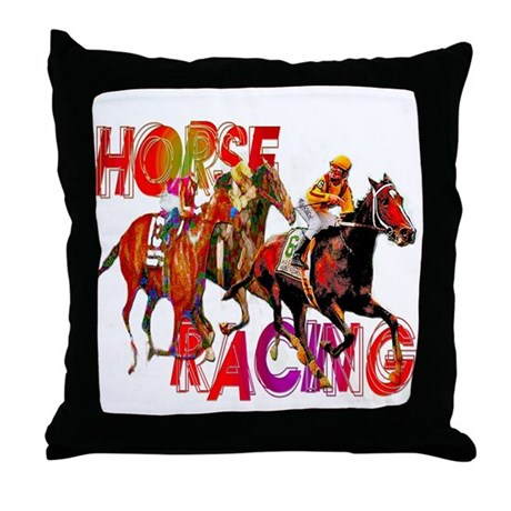 Horse Racing Throw Pillow