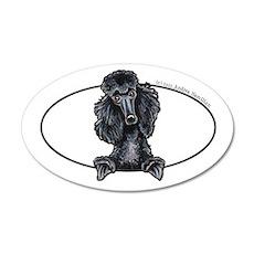 Funny Black Poodle 38.5 x 24.5 Oval Wall Peel