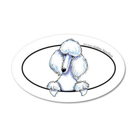 White Poodle Lover 22x14 Oval Wall Peel