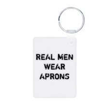 Real Men Wear Aprons Aluminum Photo Keychain
