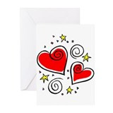 Hearts and Stars Greeting Cards (Pk of 10)