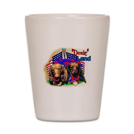 """Pun Intended_""""Doxie"""" Land Shot Glass"""