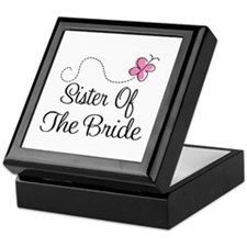 Sister of the Bride Pink Butterfly Keepsake Box