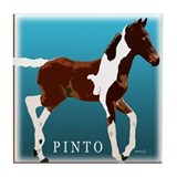 Saddlebred Pinto Colt Painting Tile Coaster