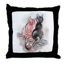 Funny Paintings of cats Throw Pillow