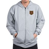 Brown Bear - Grizzly head Zip Hoodie