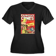 Famous Crimes Women's Plus Size V-Neck Dark T-Shir