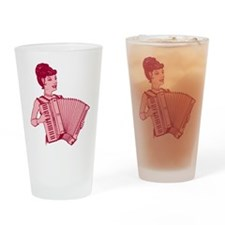 Retro Pink Lady With Accordio Pint Glass