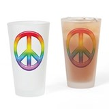 Rainbow Peace Sign Pint Glass