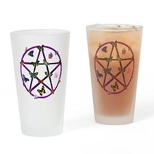 Wiccan Star and Butterflies Pint Glass