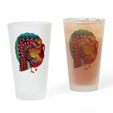 Thanksgiving Jeweled Turkey Pint Glass