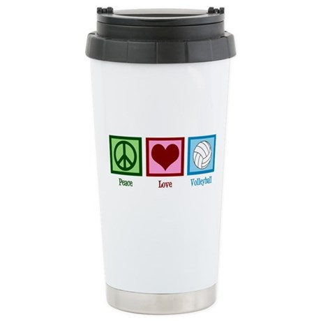 Peace Love Volleyball Ceramic Travel Mug