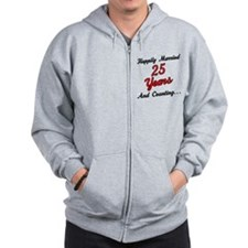 25th Anniversary Gift Married Zip Hoodie