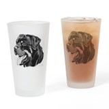 Rottweiler Pencil Drawing Pint Glass