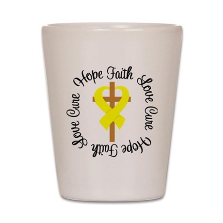 Testicular Cancer Hope Faith Shot Glass