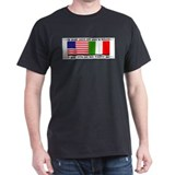 USA - Italy Black T-Shirt
