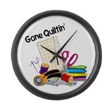 Gone Quiltin' Large Wall Clock