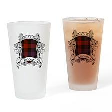 Brown Tartan Shield Drinking Glass