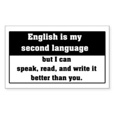 Second Language English Rectangle Decal