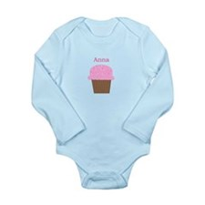 Anna - Hot Pink Cupcake Long Sleeve Infant Bodysui