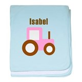 Isabel - Pink/Brown Tractor baby blanket