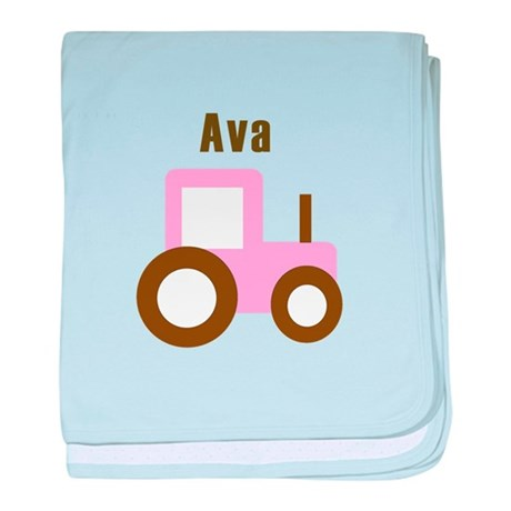 Ava - Pink Tractor baby blanket