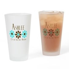 Ashlee -Blue/Brown Flowers Pint Glass