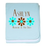 Ashlyn - Blue/Brown Flowers baby blanket