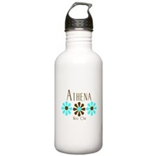 Athena - Blue/Brown Flowers Water Bottle