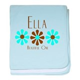 Ella - Blue/Brown Flowers baby blanket
