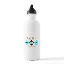 Natalie - Blue/Brown Flowers Water Bottle