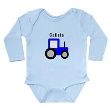 Calista - Blue Tractor Long Sleeve Infant Bodysuit