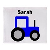 Sarah - Blue Tractor Throw Blanket