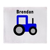 Brendan - Blue Tractor Throw Blanket