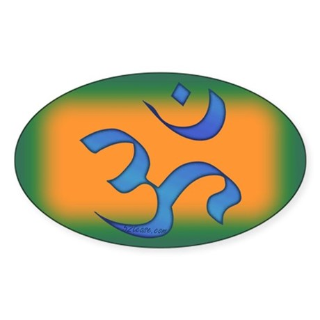 Aum/Ohm Face Meditation/Yoga Oval Sticker
