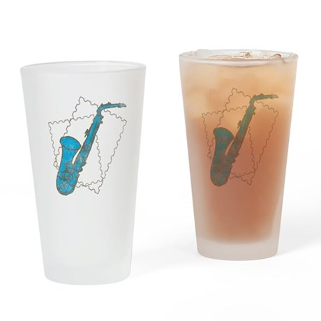 Blue Saxophone Pint Glass