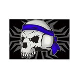 Street Wise Skull(blue)blk Rectangle Magnet(10pck)